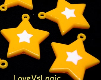 6 Huge Acrylic Star Charms. Dull Yellow With White Star.