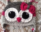 Adult Grey and magenta owl hat