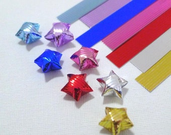 3D Glossy Metallic Striped textured Origami Lucky Star Paper Strips - pack of 40 strips