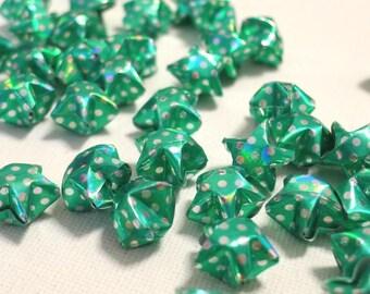 100 Christmas Green Diamond Sparkle Polka Dots Origami Lucky Stars