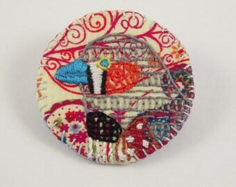 Zebra Finch Birdseeker Badge. Liberty Print- Multi. Brooch.
