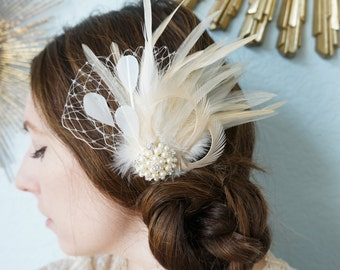 Ivory White Cream Feather FAscinator Bridal Bride CARMEN w/ VEIL Vintage Inspired Hairpiece Wedding Birdcage Veiling Pearl Rhinestone