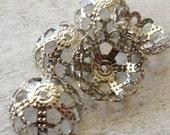 FORTY 40 Filigree Iron  Bead Caps, Platinum SIlver 12mm
