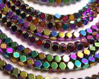 Hematite rainbow 3mm faceted rhombus square - full strand - 134 beads - AA quality - PHG30