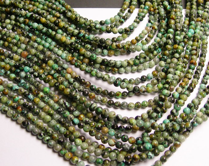 Turquoise - African - 4 mm round - 1 full strand - 98 beads - A quality