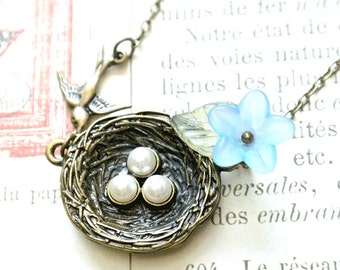 Bird Nest Necklace, Nest Pendant Necklace - Iceblues