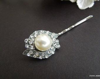 Bridal Rhinestone Hair Pin,White Pearl Hair Pin,Rhinestone Wedding Hair Pin,Wedding Pearl Hair Pin,Antique Silver Bridal Hair Pin,Pearl,MAYA