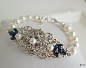 pearl bridal bracelet wedding rhinestone bracelet Ivory Swarovski Pearl Bridal bracelet  blue Swarovski crystals something blue ROSELANI