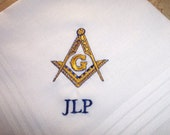 Custom Embroidered Handkerchief with Masonic Symbol and Initials
