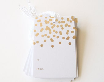 Gold Foil Gift Tags - Confetti: Set of 10