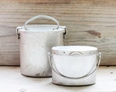 Set of two vintage miners lunch box, French aluminum lunch pails, Storage canisters, Photo props