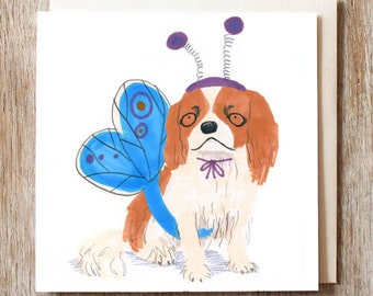 King Charles Spaniel dog card in butterfly costume