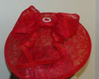 Kentucky Derby Red Saucer Hat, Fascinator, In Sinamay and Lace For Mothers Day, spring,bridesmaids, wedding guest or Church