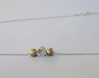 Bronze and silver gem neckalce