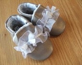 baby girl's shoes shimmery sand dressy with lace size 6 / 18-24 months
