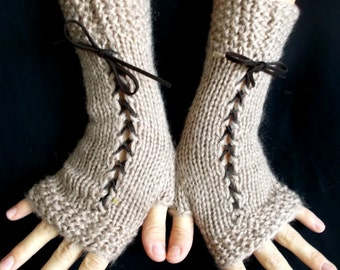 Knit Fingerless Gloves Corset Wrist Warmers in Light Brown  with Suede Ribbons Victorian Style