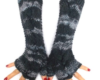 Fingerless Gloves Grey Arm Warmers Cabled Handmade Warm and Chunky