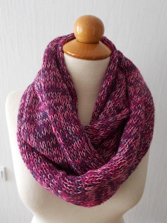Tube Scarf Knitting Pattern : Infinity Scarf Knit Circular Tube Scarf In Pink Navy Purple