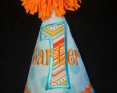 PERSONALIZED BOY'S Birthday Hat - 1st Birthday Hat - 2nd Birthday -3rd Birthday - Blue Dot with Chevron print Number with Orange