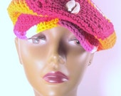 Orange and Red Multi Jeff Cap with Cowrie