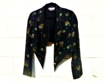 Repose Original Altered Cropped 80's Rayon Floral Print Buttoned Blazer with Angular Cut