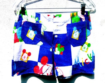 Women's Blue and White Checkered Mickey Mouse Hot Shorts Fashioned Out of Vintage Disney Blankets Original by Repose