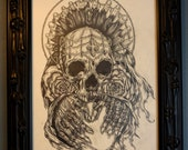 Gothic Dark  Art Drawing Skull tattoo art home decor punk metal graphite Death Skeleton Roses Skull and Crossbones lowbrow art