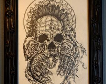Gothic Dark  Art Drawing Skull tattoo art home decor punk metal graphite Death Skeleton Roses Skull and Crossbones lowbrow art