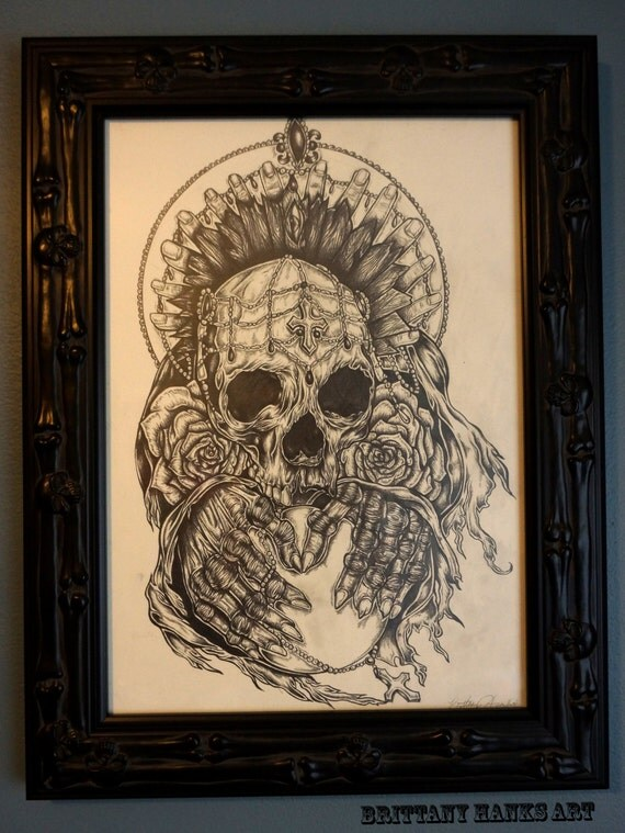 Http Www Etsy Com Listing 164122947 Gothic Dark Art Drawing Skull Tattoo Art