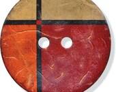 "Large Coconut Button Mesa 1 1/4"" Orange Geometric Sewing Costuming Clothing Crafts Bookbinding Handbag"