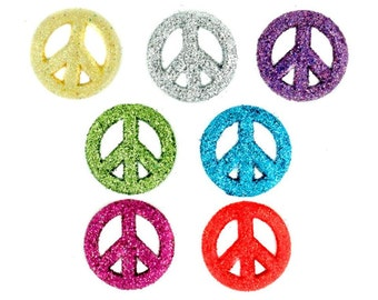 Glitter Peace Sign Buttons Sewing Crafts Novelty 60's Hippie Jesse James Embellishments