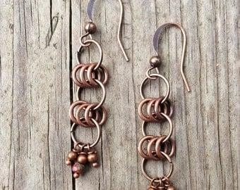 Copper Earrings, Copper Dangle Earrings, Copper Jewelry