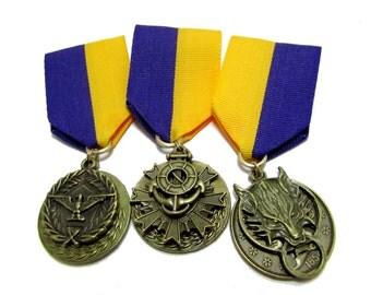 Steampunk Cosplay Medal // Custom SINGLE CHARM Medallion //  Purple Gold Ribbon