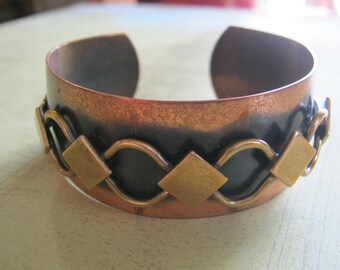 Vintage Brass and Copper Cuff with Soldered Chain (1)