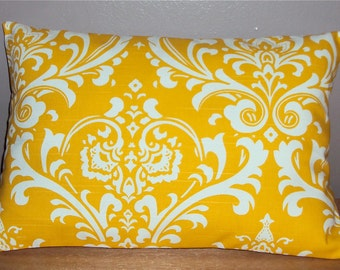 Bright Yellow Damask Print Decorative Lumbar Pillow Cover - 3 Sizes Available