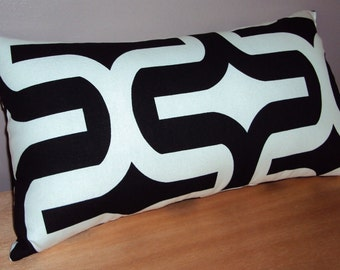 Black and White Retro Geometric Decorative Lumbar Pillow Cover - Available in 3 Sizes