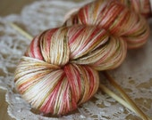 Hand Dyed Yarn / Fingering Weight / Red Ivory Moss Brown Ygritte / Silk Merino Wool