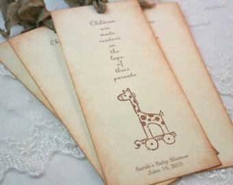 Giraffe Bookmarks Baby Shower Favors Neutral Set of 10