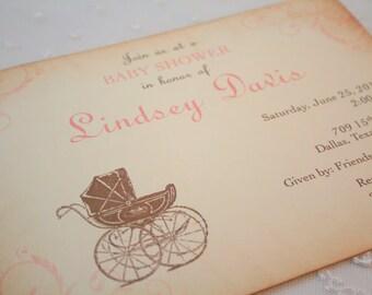 Girl Carriage Invitations Baby Shower Invite Pram Pink Swirls Vintage Style Set of 10