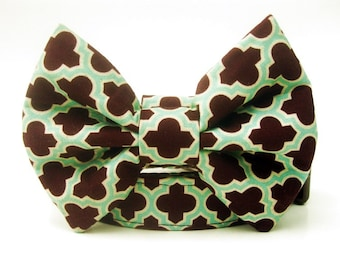 Bow Tie Dog Collar in Chocolate Brown and Aqua