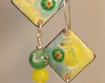Enamel  and Vintage Japanese Bead Earrings - Lemon-Lime