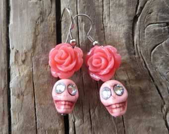 Light Pink Howlite Skulls with Pink Resin Roses Earrings