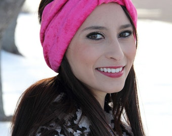 Bright Pink Crushed Velvet Stretch Adult Turban Headband - Gift For Her - Mothers Day Gift - Easter Gift