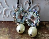 Bridal Earrings, Rhinestone And Pearl Tear Drop Earrings, Aurora Borealis Crystals Rhinestone Earrings, Bridal Accessories, Wedding Jewelery
