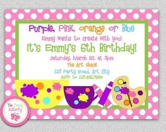 Art Party Invitation , Art Party Birthday Invitation