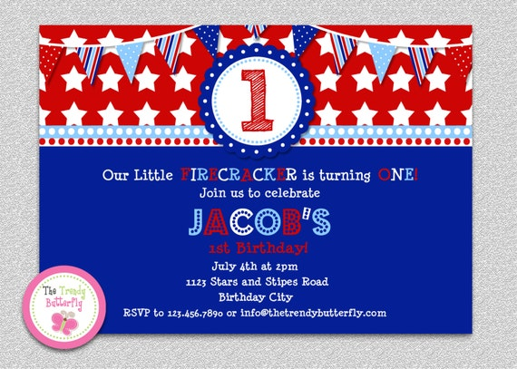 4th Of July Firecracker Red White Blue Birthday Invitation Boys Or GIrls