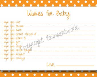 PRINTABLE Wishes for Baby Cards - Unique Baby Shower Activity Game or Memory Book Idea - Orange