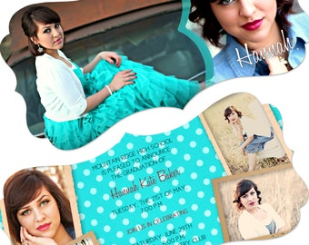 Instant Download - Senior Graduation Announcment - HANNAH-1 - Perfect for Photographers - 4x8 Flat - Two Sided - Horizontal