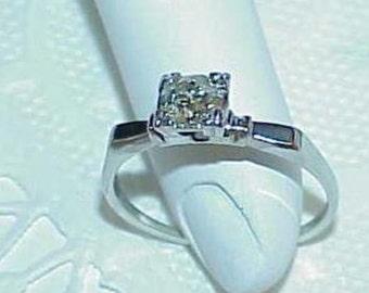 14K .50Ct European Diamond Solitaire Ring White Gold Antique Art Deco Gorgeous Antique