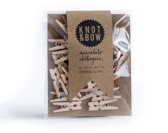 25 Miniature Wooden Clothespins